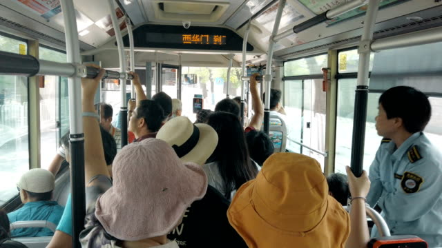 interior of bus,beijing, china - ticket counter stock videos & royalty-free footage
