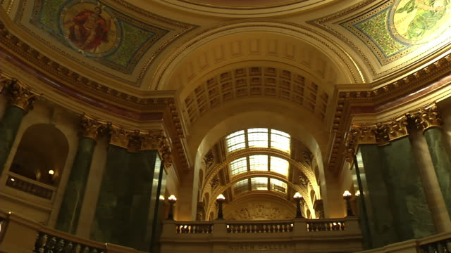 ms pan interior of capitol buidling / madison, wisconsin, united states - wisconsin video stock e b–roll