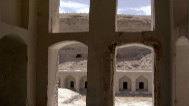 ws td tu interior of caravanserai, iran - inn stock videos & royalty-free footage
