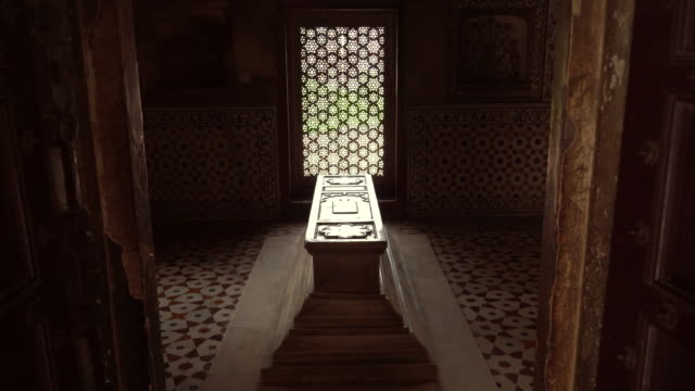 interior of casket itmad-ud-daulah tomb, baby taj. in agra, india - coffin stock videos & royalty-free footage