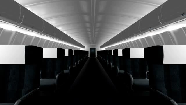 vidéos et rushes de intérieur de l'avion commercial - casier de consigne