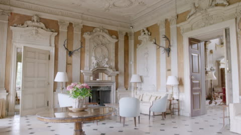 ms td interior of ditchley house with furniture / charlbury, oxfordshire, england, united kingdom - mansion stock videos & royalty-free footage