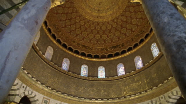 la, pan, interior of dome of the rock, dome, jerusalem, israel - jerusalem stock videos & royalty-free footage