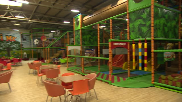 interior of empty safari mk, a soft play area for young children that has to remain shut during coronavirus lockdown restrictions, social distancing... - indoors stock videos & royalty-free footage