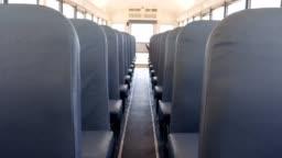 Interior of empty school bus