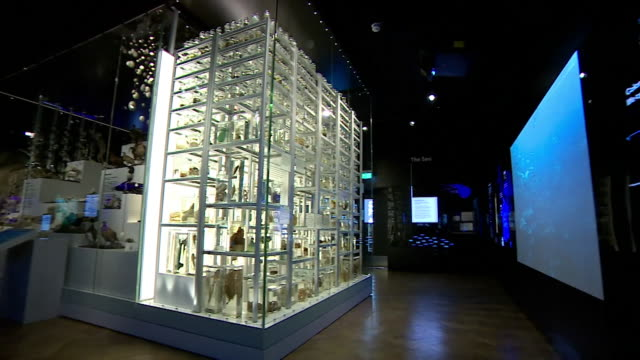 """interior of exhibitions in the box a new art gallery and museum complex in plymouth - """"bbc news"""" stock videos & royalty-free footage"""
