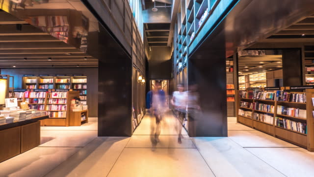 interior of famous book store in suzhou. timelapse 4k hyperlapse - library stock videos & royalty-free footage