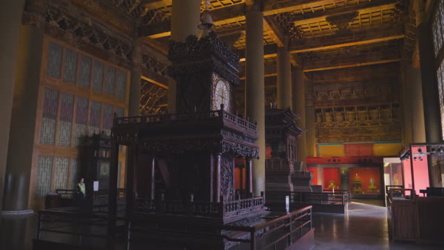 ms interior of forbidden city, unesco world heritage site, beijing, china - 宮殿点の映像素材/bロール