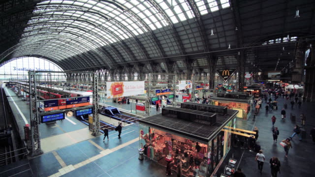 interior of frankfurt central station - railway station stock videos & royalty-free footage