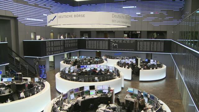 ws ha interior of frankfurt stock exchange building / frankfurt main, hessen, germany - frankfurt stock exchange stock videos and b-roll footage