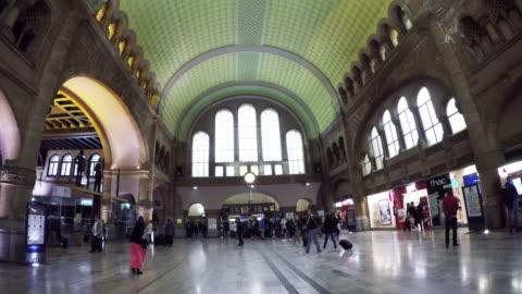 interior of gare de metz-ville train station in metz, france. - lorraine stock-videos und b-roll-filmmaterial