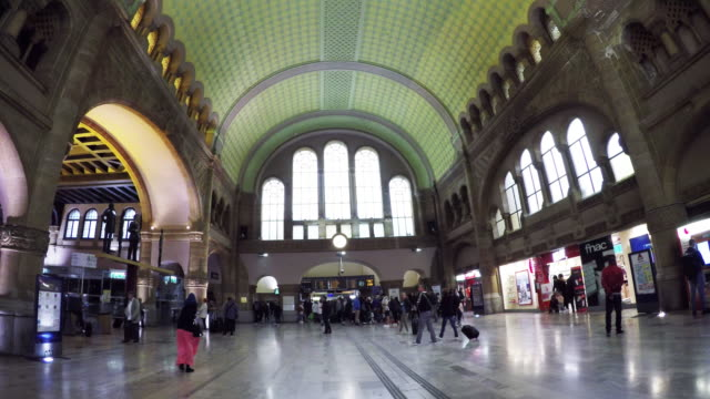 interior of gare de metz-ville train station in metz, france. - metz stock videos and b-roll footage