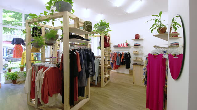 interior of garment store post covid-19 lockdown - boutique stock videos & royalty-free footage