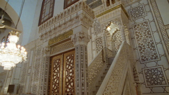 ms, interior of grand mosque of damascus, damascus, syria - grand mosque stock videos and b-roll footage