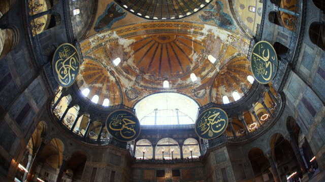 t/l ws td interior of haghia sophia, istanbul, turkey - hagia sophia istanbul stock videos & royalty-free footage