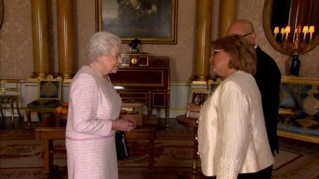 interior of her majesty queen elizabeth ii meeting marie louise coleiro preca president of malta and her husband edgar preca on february 18 2015 in... - 2015 stock-videos und b-roll-filmmaterial