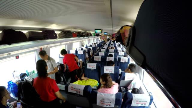 interior of high speed rail/shanghai,china - vehicle interior stock videos & royalty-free footage