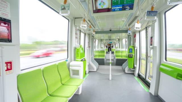 interior of high-speed train. timelapse 4k