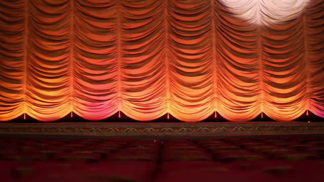 MS Interior of Historic Movie Theater, Spotlight Scans Wildly Across Stage Curtain / Richmond, Virginia, USA