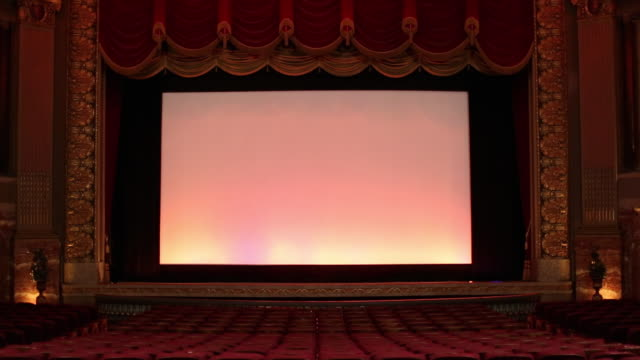 WS TU Interior of Historic Movie Theater, Stage Curtain Falls / Richmond, Virginia, USA