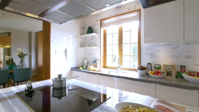 interior of kitchen 4k - kitchen stock videos & royalty-free footage
