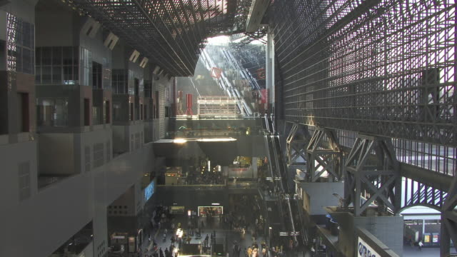 ws, ha, interior of kyoto station, kyoto, japan - real time stock videos & royalty-free footage