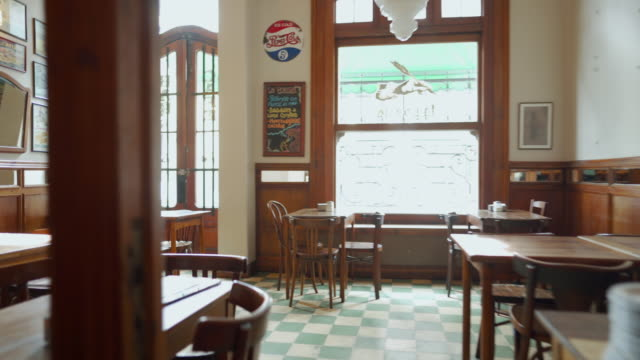 interior of local cafe in buenos aires - ristorante video stock e b–roll