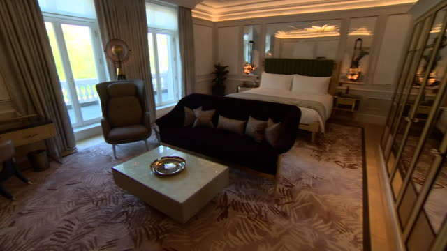 interior of luxury bedroom at mandarin hotel hyde park london - bathroom stock videos & royalty-free footage