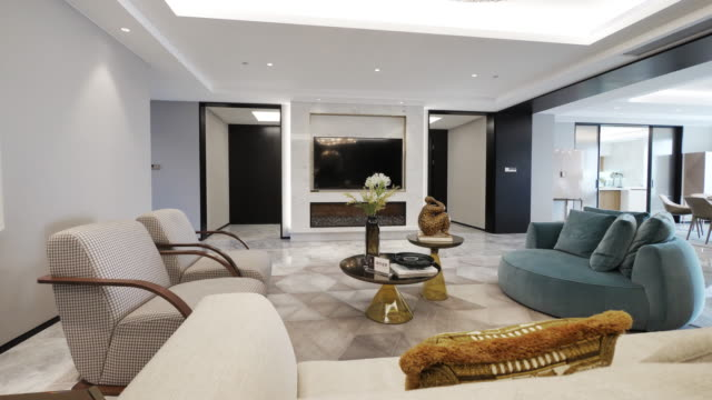 interior of luxury living room - living room stock videos & royalty-free footage