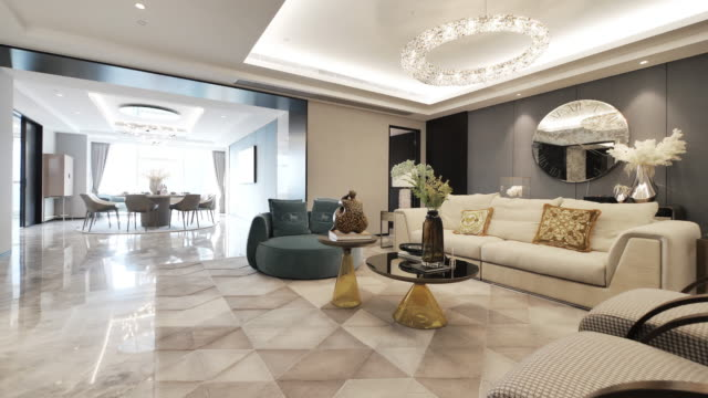 interior of luxury living room - flat stock videos & royalty-free footage