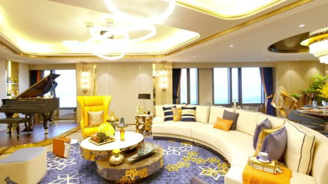 vídeos de stock, filmes e b-roll de interior de luxo-sala de estar - sala de estar