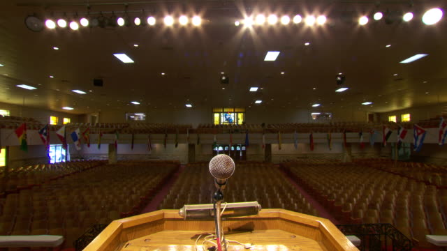 ms interior of mason temple / memphis, tennessee, united states - microphone stock videos & royalty-free footage