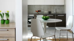 Interior of modern apartment in scandinavian style with kitchen and workplace. Motion panoramic view