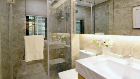 interior of modern bathroom - bathroom stock videos & royalty-free footage