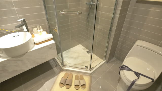 interior of modern bathroom - bathroom stock videos and b-roll footage