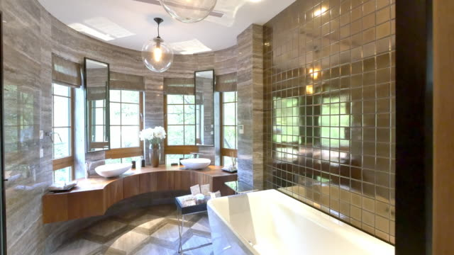 interior of modern bathroom - bathroom stock videos & royalty-free footage