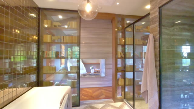 interior of modern bathroom - bathtub stock videos & royalty-free footage