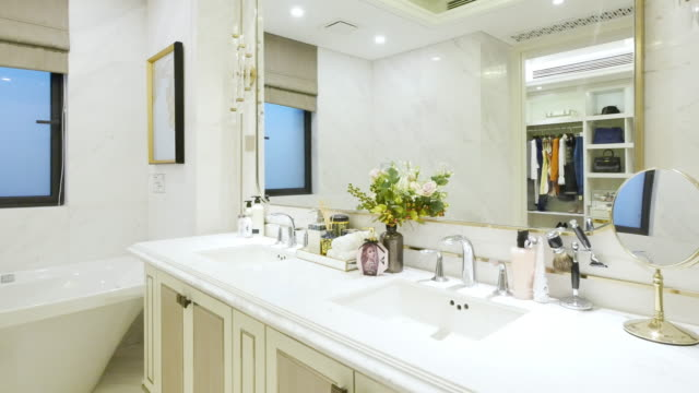 interior of modern bathroom - bathroom sink stock videos & royalty-free footage