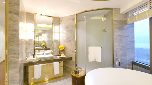 interior of modern bathroom - domestic bathroom stock videos & royalty-free footage