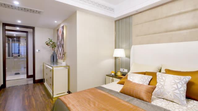 interior of modern bedroom - home interior stock videos & royalty-free footage