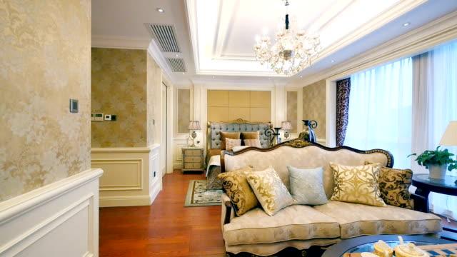 interior of modern bedroom - home showcase interior stock videos & royalty-free footage