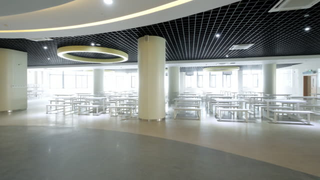 interior of modern cafeteria - canteen stock videos & royalty-free footage