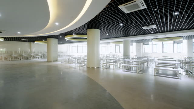 interior of modern cafeteria - corridor stock videos & royalty-free footage