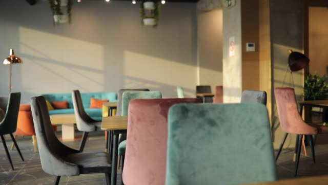 interior of modern coffee shop - stool stock videos & royalty-free footage