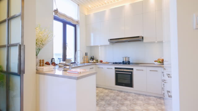 interior of modern kitchen  4k - kitchenware department stock videos and b-roll footage