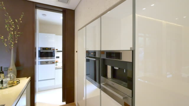 interior of modern kitchen  4k - appliance stock videos & royalty-free footage