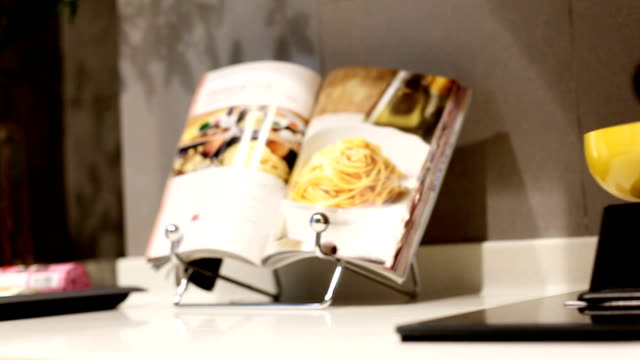 interior of modern kitchen - kitchen worktop stock videos & royalty-free footage