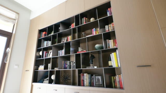 interior of modern study 4k - bookshelf stock videos & royalty-free footage