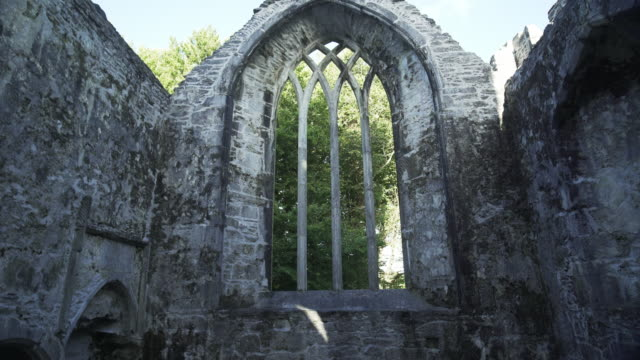 interior of muckross abbey in killarney national park - tracery stock videos and b-roll footage
