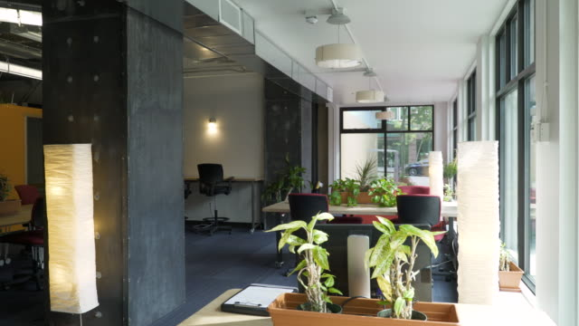 Interior of office space and work stations.